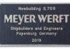 Bauschild der Meyer Werft.