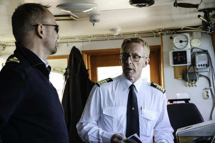 Kapitän Eivind Lande und 2. Steuermann Roger Nordeng der MS LOFOTEN