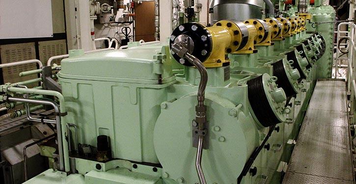Schiffsmotor für Dual-Fuel-Betrieb.