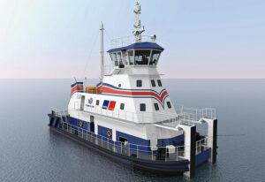 Das Flachwasser-Schubschiff soll in Binnengewässern eingesetzt werden
