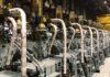 Ansicht des MAN B&W 11G90ME-GI-Motors im Werkstatttest in Korea