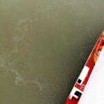 Abgaswaschwasseraustritt von einem Kreuzfahrtschiff