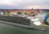 Wenn alles geschafft ist: Fotomontage der fertigen GLOBAL DREAM im Hafen von Wismar.
