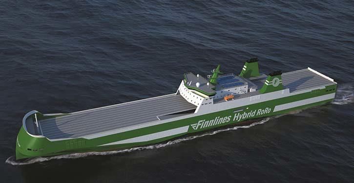 Grafische Darstellung des neuen Hybrid-RoRo-Schiffs
