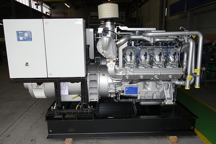 Sandfirden Gas-Genset mit 294 kVA bei 50 Hz.