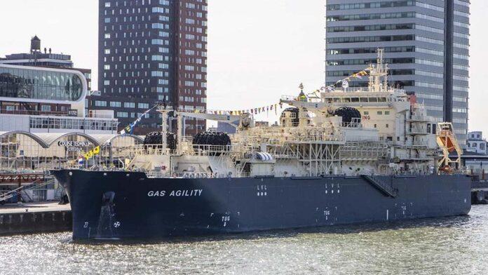 GAS AGILITY während ihrer Taufe im Hafen von Rotterdam