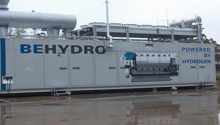 Interessenten können bei ABC-Diesel ein containerisiertes mit Wasserstoff betriebenes E-Aggregat im Detail begutachten