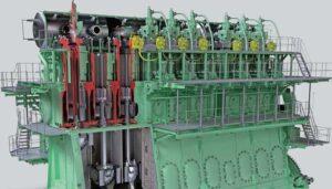 Der MAN B&W 11G90ME-GI-Hauptmotor leistet 68.640 kW